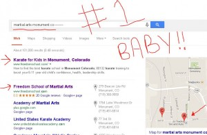 Front Page Results! My local biz has SEVEN listings on the front page of Google...